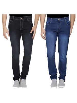 Ansh Fashion Wear J-BLK-RM1-1 Multicolored Men Jeans Set Of 2
