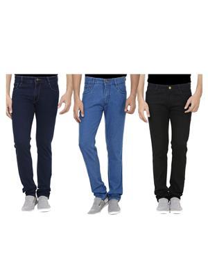 Ansh Fashion Wear J-BLK-RP1-RP2-1 Multicolored Men Jeans Set Of 3