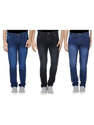Ansh Fashion Wear J-RM1-BLK-RM2-1 Multicolored Men Jeans Set Of 3