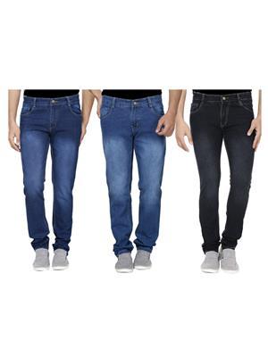 Ansh Fashion Wear J-RM1-RM2-BLACK-1 Multicolored Men Jeans Set Of 3