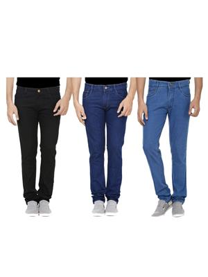 Ansh Fashion Wear J-RP1-RP2-BLK-1 Multicolored Men Jeans Set Of 3