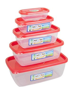 Nayasa Microwave Safe Container Size 0-4  - 1100 ml- 150 ml- 300 ml- 680 ml- 1800 ml Plastic Food Co
