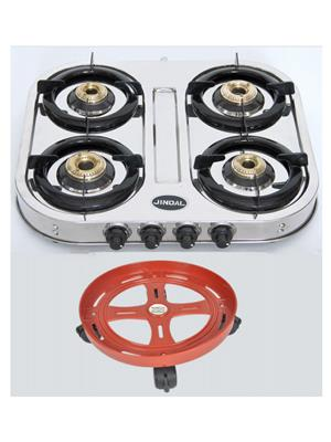Jindal JIN_SS_Curve_4B   Steel  SS Curve 4 burner Gas Stove and Cylinder Trolley Combo