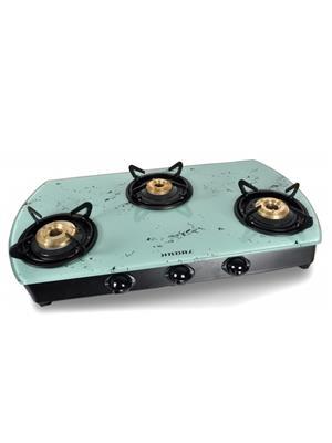 Jindal JIN_ MWhite3B_MS_AI Glass   Top 3 Burner Auto Ignition Toughened Glass Cooktop