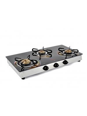Jindal JIN_ O_2012 Glass  Designer O series 3 Burner Toughened Glass Cooktop