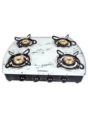 Jindal JIN_  MWhite4B_AI Glass   Top 4 Burner Auto Ignition Toughened Glass Cooktop