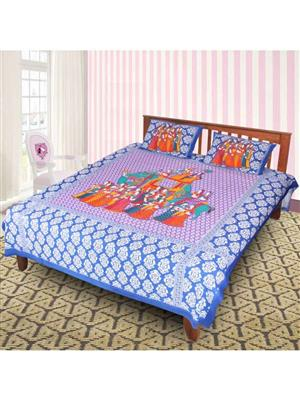 Jyotis J_004  Blue Printed Cotton 4 Double Bedsheet With 2 Pillow Covers
