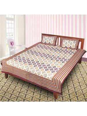 Jyotis J_021  Brown Printed Cotton 21 Double Bedsheet With 2 Pillow Covers