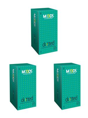 Moods K04006 Dotted  Condom Combo Pack Of  3