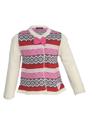 UK Kids WBG301 Cream Girl Full Sleeves Cardigan