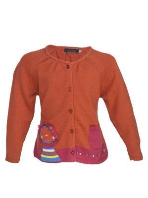 UK Kids WBG323 Rust Girl Full Sleeves Cardigan