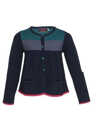 UK Kids WBG324 Navy Girl Full Sleeves Cardigan