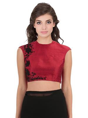 Isha Enterprise KFB-36 Red Women Blouse Material (Unstitched)