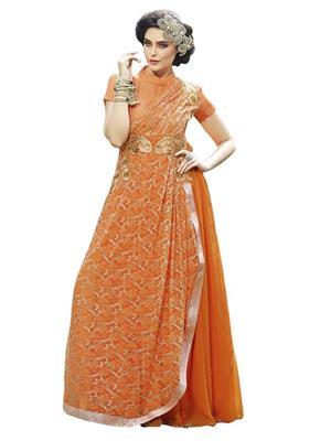 Isha Enterprise KFBG101-10023 Orange Women Gown