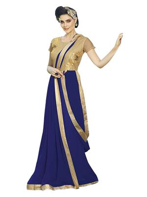 Isha Enterprise KFBG101-10025 Blue Women Gown