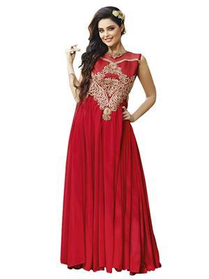 Isha Enterprise KFBG101-10026 Red Women Gown