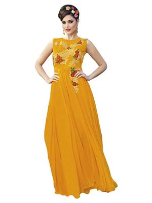 Isha Enterprise KFBG101-10029 Golden Women Gown