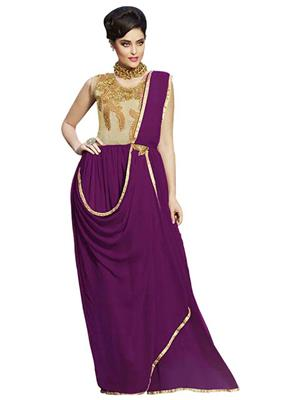 Isha Enterprise KFBG101-10030 Purple Women Gown