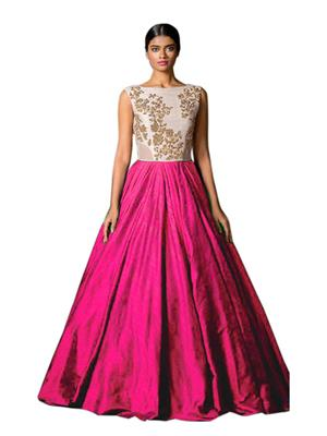 Isha Enterprise KFMG-18 Pink-White Women Gown