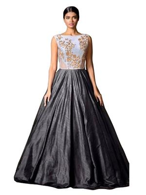 Isha Enterprise KFMG-19 Black-White Women Gown