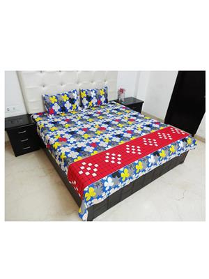 K Gallery K.G.B60 Multicolored Double Bedsheet With 2 Pillow Covers