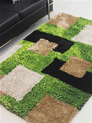 Royzez Handmade Polyester Shaggy Rug Green Beige K00012