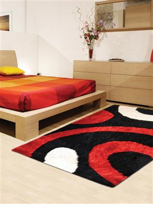 Royzez Handmade Polyester Shaggy Rug Black Red K00025