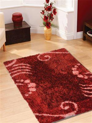 Royzez Handmade Polyester Shaggy Rug Red K00026