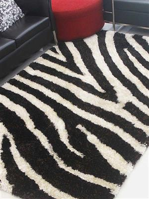 Royzez Handmade Polyester Shaggy Rug Brown Ivory K00037