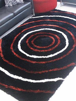 Royzez Handmade Polyester Shaggy Rug Black Multicolor K00005