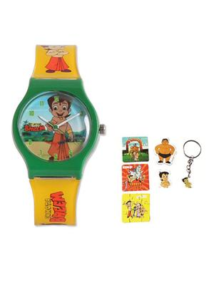 Fantasy World Kkfw-1001-Gr Green Chota Bheem Kids Watch Combo Pack
