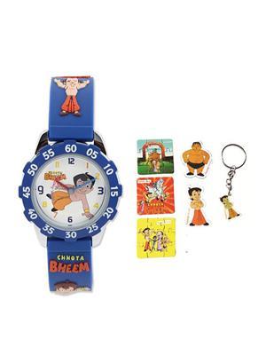 Fantasy World Kkfw-1010 Or White Chota Bheem Kids Watch Combo Pack
