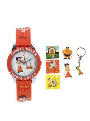 Fantasy World Kkfw-1010 Rd White Chota Bheem Kids Watch Combo Pack