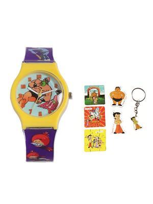Fantasy World Kkfw-3001-Yl Blue Chacha Chaudhary Kids Watch Combo Pack