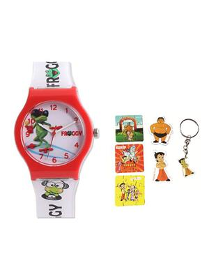 Fantasy World Kkfw-4001-Bl-Or Pink Froggy Kids Watch Combo Pack