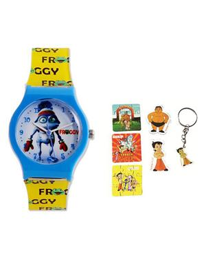 Fantasy World Kkfw-4001-Rd-Wh Blue Froggy Kids Watch Combo Pack