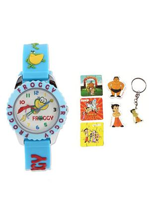 Fantasy World Kkfw-4010 L-Bl White Froggy Kids Watch Combo Pack