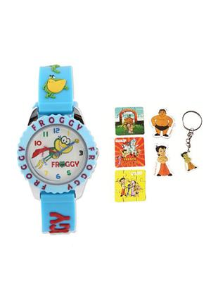 Fantasy World Kkfw-4010 Rd White Froggy Kids Watch Combo Pack