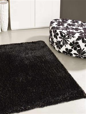 Royzez Handmade Polyester Shaggy Rug Silver Black K00111