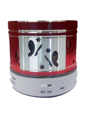 General Aux Koiled Red Portable Round Led Bluetooth Speaker