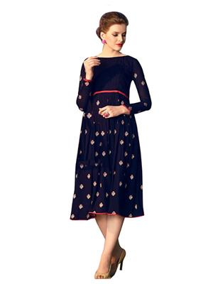 Isha Enterprise KVFK-306 Blue Women Dresses