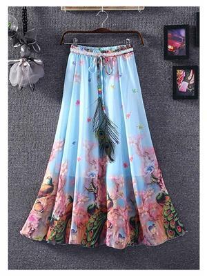 Kyroz Kyzfmsk19 Blue-Pink Women Skirt
