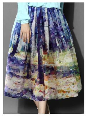 Kyroz Kyzfmsk4 Blue-Brown Women Skirt