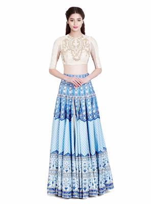 Fabkaz Kzl-011 Aqua Blue Women Lehenga Choli