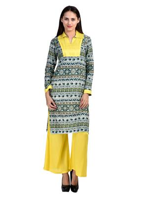 Abhinav Fashion Krt-Plzo-01 Yellow Women Palazzo Pants