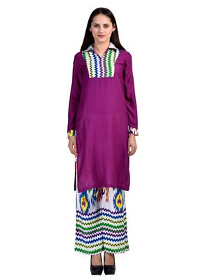 Abhinav Fashion Krt-Plzo-12 Purple Women Palazzo Pants