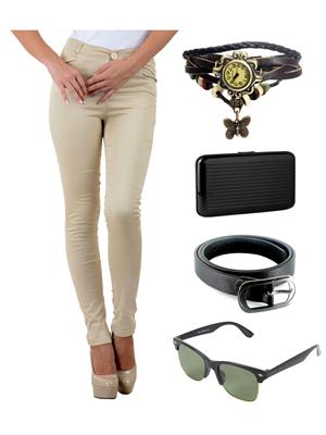 Ansh Fashion Wear L-BEIGE-RP Beige Women Chinos With Watch, Belt, Sunglass & Card Holder