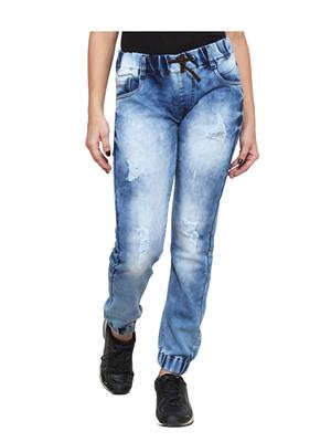 Ansh Fashion Wear LADIES-A-LB-CLOUD-JOGGER Blue Women Jeans