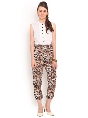 La Arista LAJS12 Off White And Print Women Jumpsuit