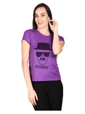 LetsFlaunt LFNEW10039 Purple Women T-Shirt